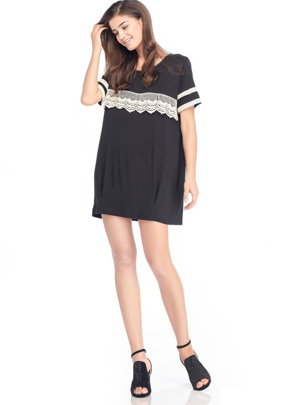 Short Sleeves Maternity & Nursing T-Shirt Dress with Lace Baju Hamil Menyusui