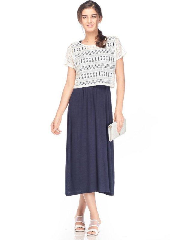 2-Piece Maternity & Nursing Dress with Lace Top Baju Hamil Menyusui