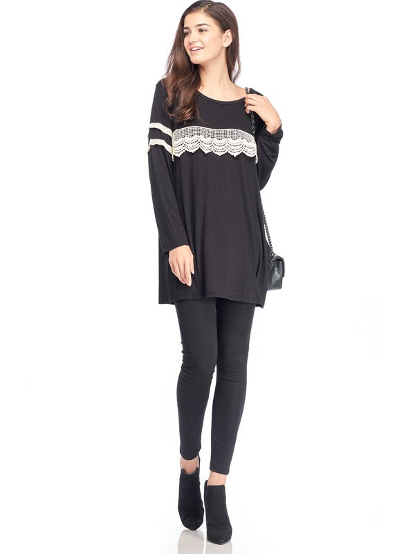 Long Sleeves Maternity & Nursing T-Shirt Dress with Lace