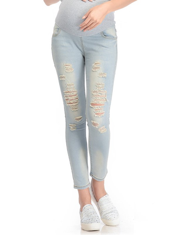 Skinny Maternity Jeans with Rips Celana Jeans Hamil