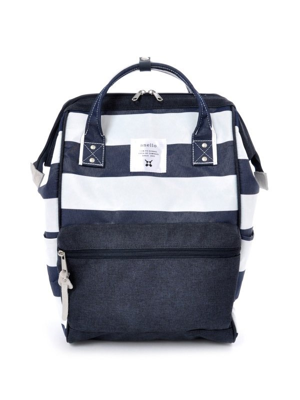 anello® Polyester Large Multi-Border Backpack Tas Ransel- Navy