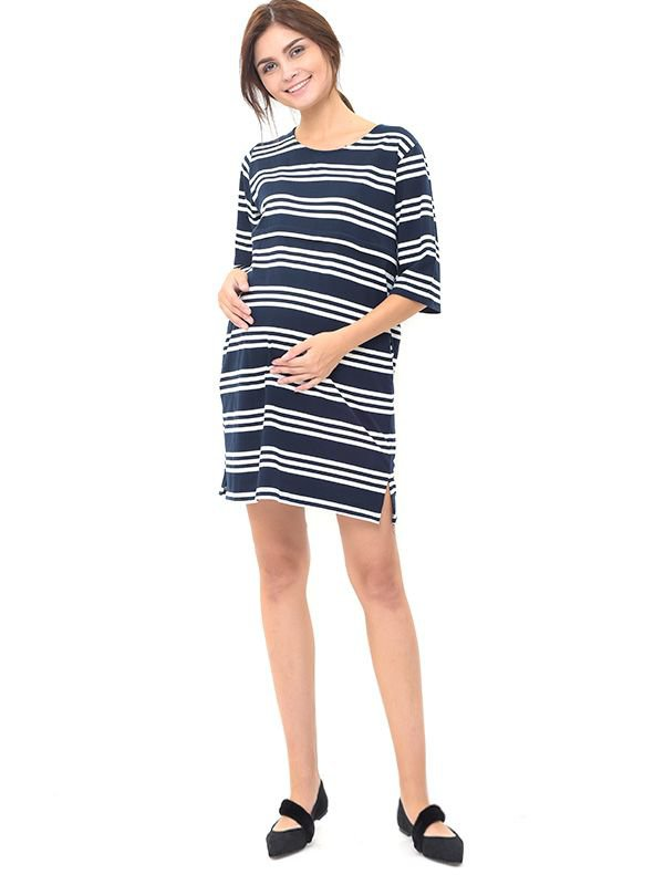 Striped Half Sleeve Nursing Dress Baju Hamil Menyusui