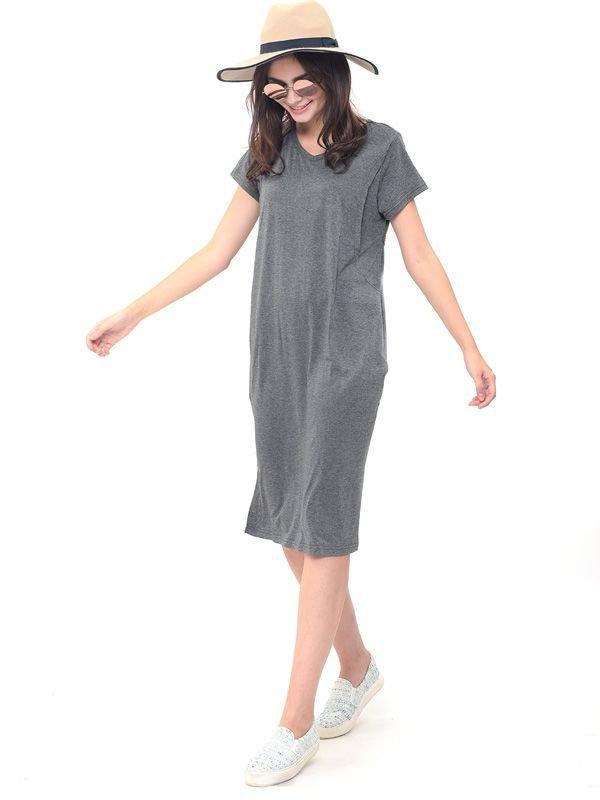 One Piece Nursing Side Split Dress