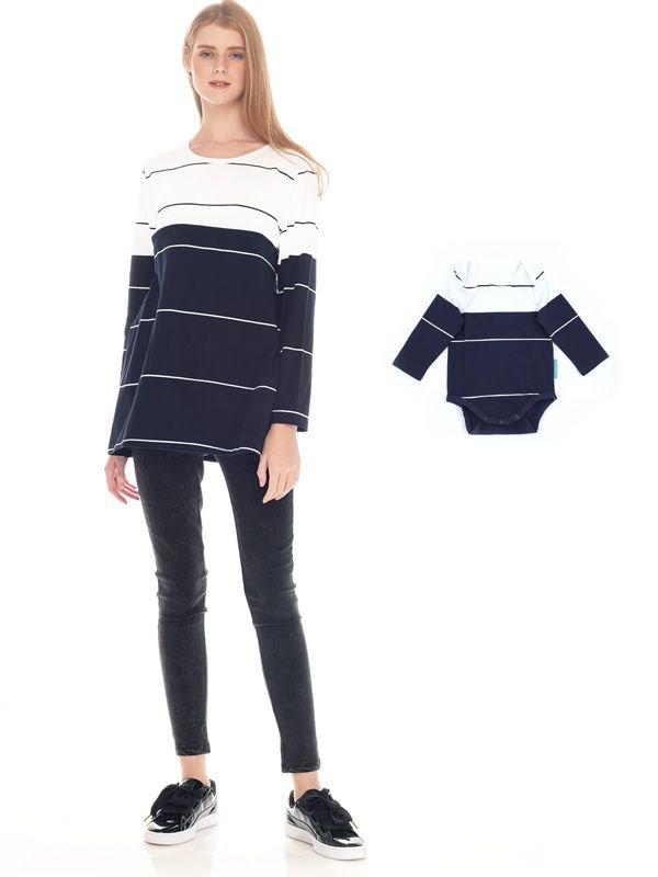 Navy & White Striped Cotton Nursing Top Couple Set Baju Hamil Menyusui Couple Ibu Anak