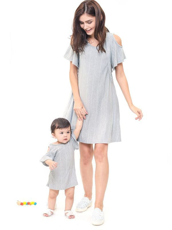Cold Shoulder Nursing Dress + Baby Clothes Baju Hamil Menyusui Couple Ibu Anak