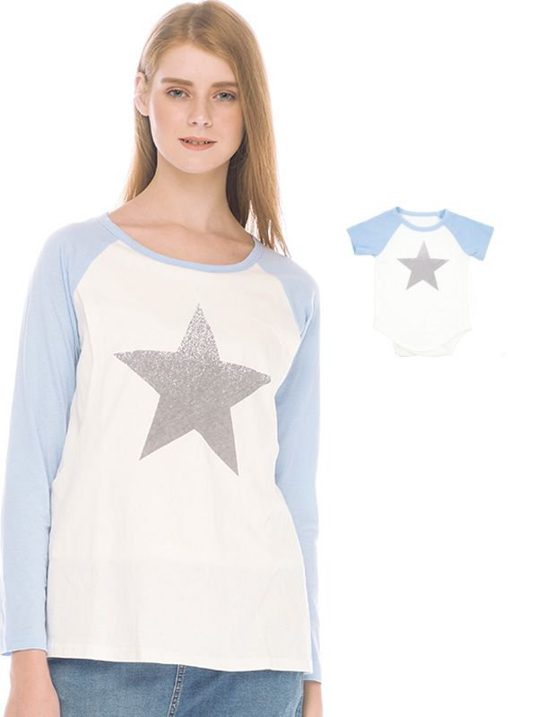 Star Long Sleeve Nursing T-shirt Couple Set Baju Hamil Menyusui Couple Ibu Anak