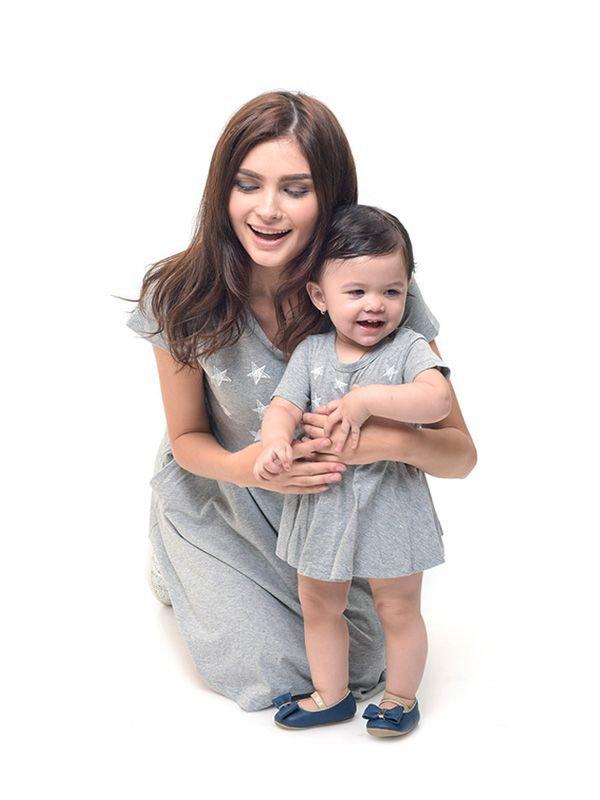 Starry Sky Nursing Dress + Baby Clothes Baju Hamil Menyusui Couple Ibu Anak
