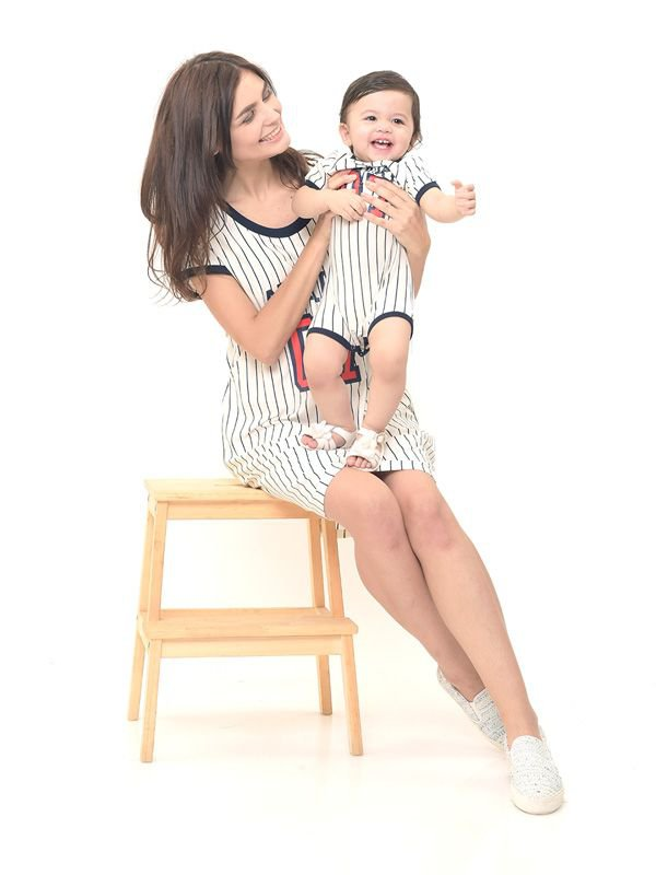 Baseball Nursing Dress + Baby Clothes Baju Hamil Menyusui Couple Ibu Anak