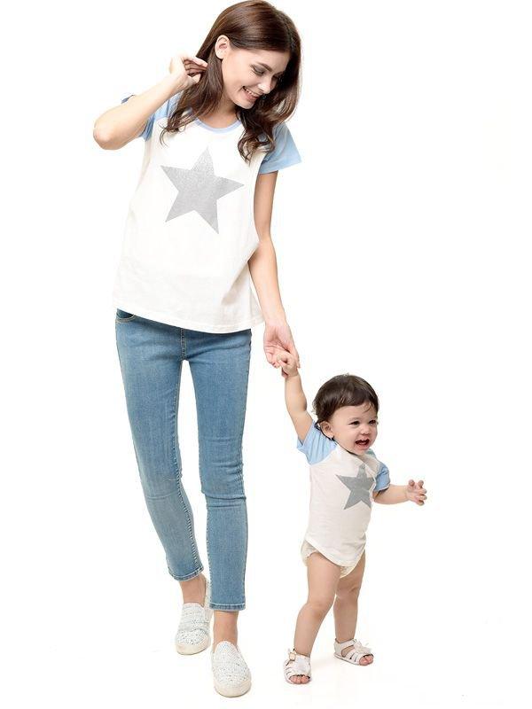 MOOIMOM Star Nursing T-shirt Couple Set Baju Hamil Menyusui Couple Ibu Anak