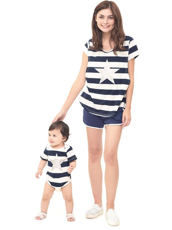 Star stripe nursing couple set Baju Hamil Menyusui Couple Ibu Anak