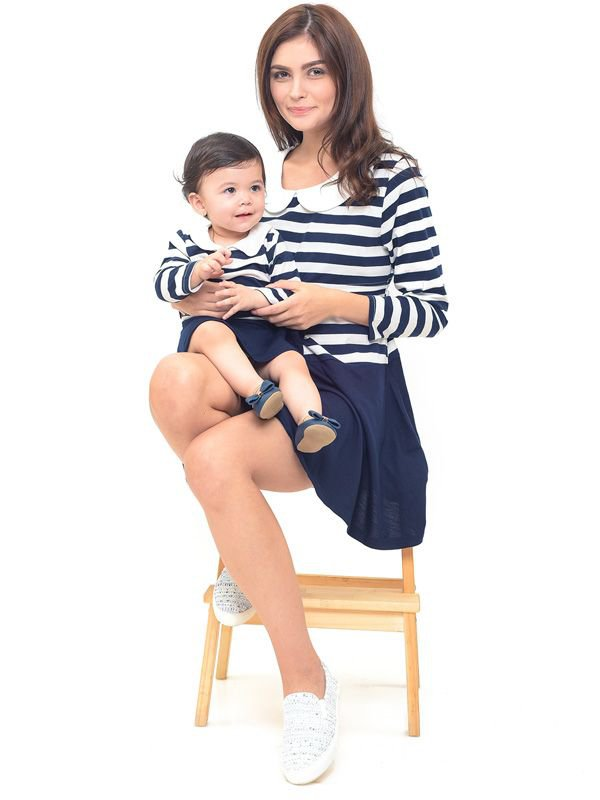 Round Neck Long Sleeves Nursing Dress Couple Set Baju Hamil Menyusui Couple Ibu Anak