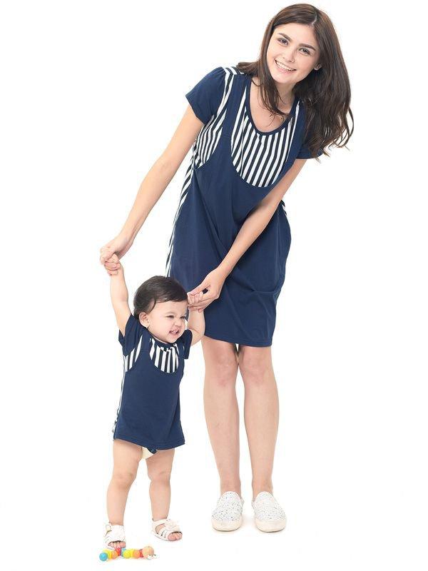 Straight Stripe Nursing Sling Dress Couple Set Baju Hamil Menyusui Couple Ibu Anak
