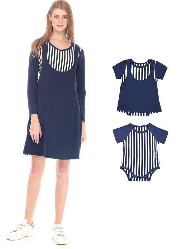 Straight Stripe Long Sleeves Nursing Sling Dress Couple Set Baju Hamil Menyusui Couple Ibu Anak