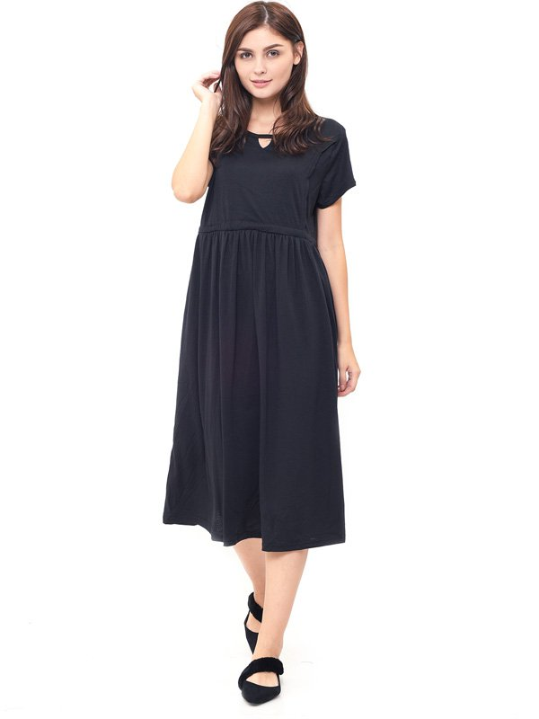 V-Shaped Hollow Nursing Long Dress Baju Hamil Menyusui