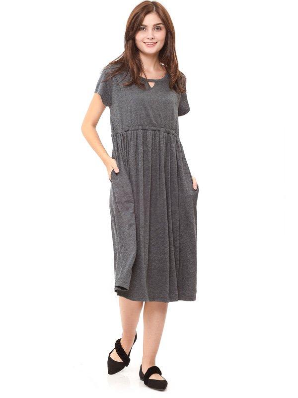 V-Shaped Hollow Nursing Long Dress