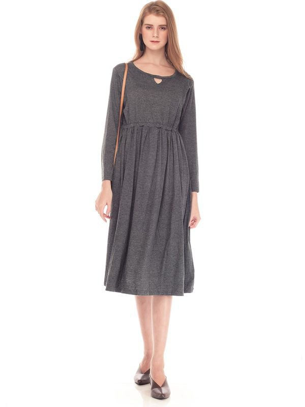 V-Shaped Hollow Long Sleeves Nursing Long Dress