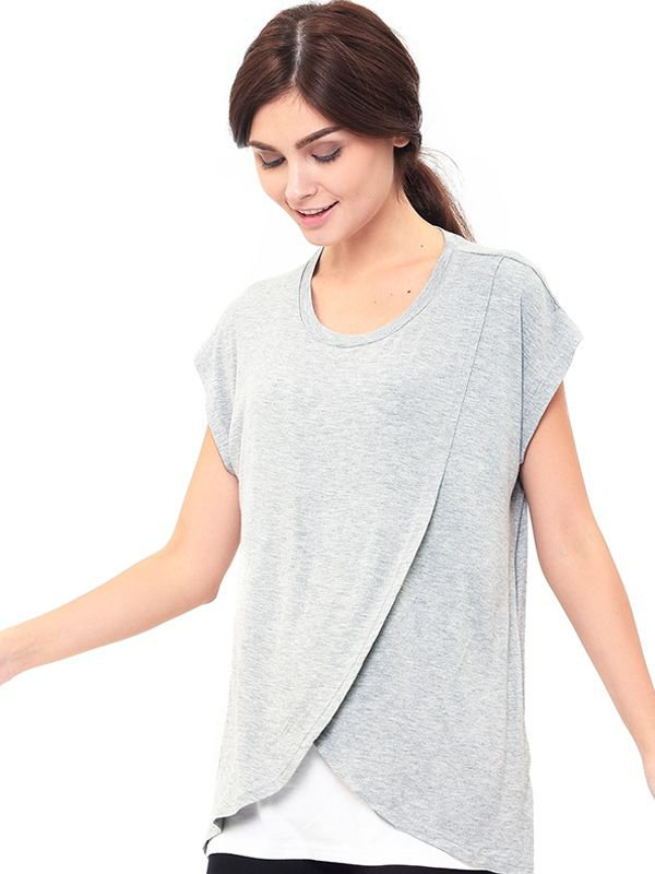 Maternity Nursing T-Shirt With Wrap Overlay Baju Hamil Menyusui
