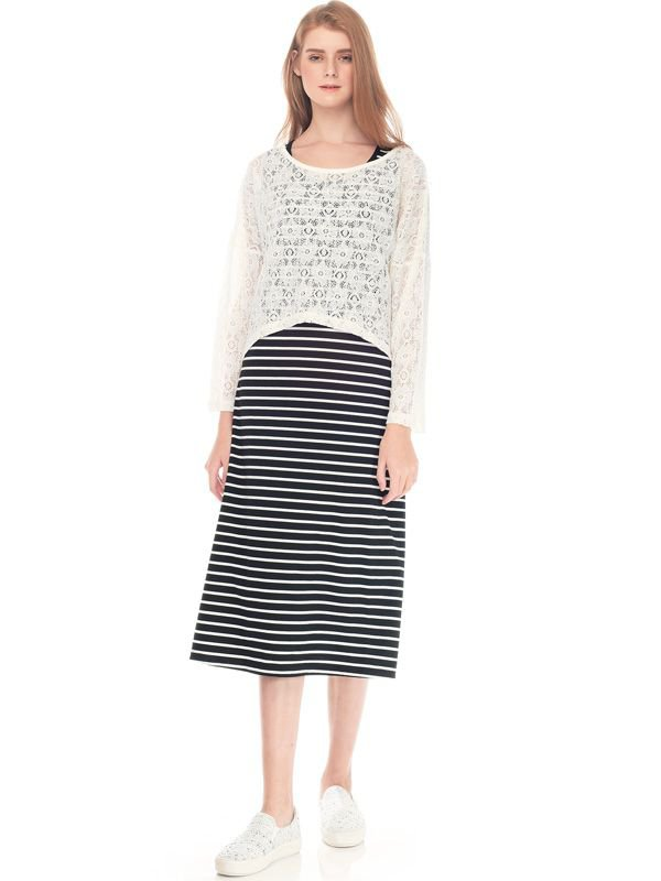 2 Piece Maternity & Nursing Lace Long Sleeves + Long Dress