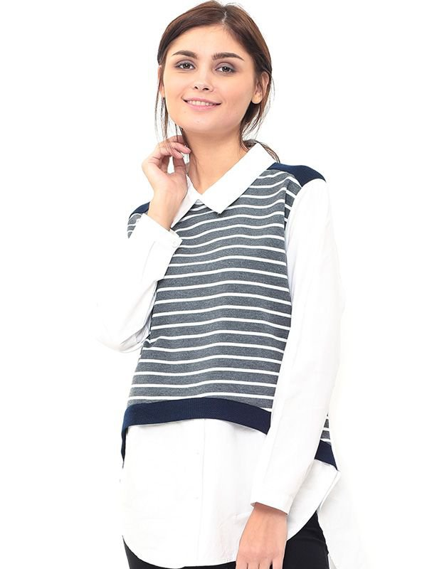 Striped Vest Long-Sleeved Nursing Shirt with Collar Baju Hamil Menyusui