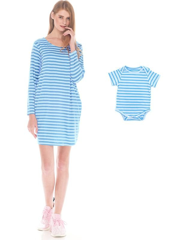 Comfort Stripe Long Sleeves Nursing T-Shirts Dress Couple Set Baju Hamil Menyusui Couple Ibu Anak