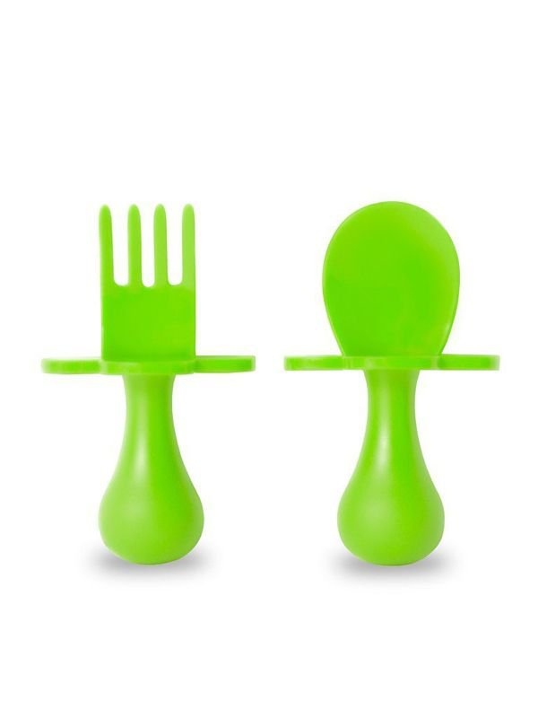 Grabease First Self Feeding Utensil Set of Spoon and Fork for Toddlers Alat Makan Bayi - Green