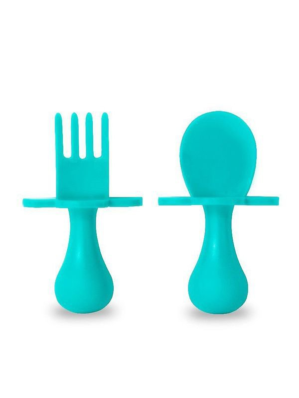 Grabease - First Self Feeding Utensil Set of Spoon and Fork for Toddlers Alat Makan Bayi - Teal
