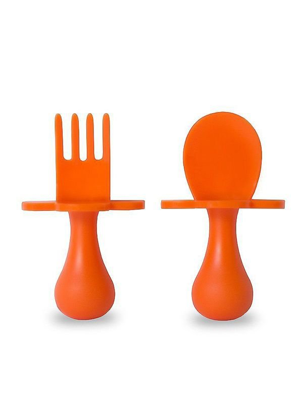 Grabease First Self Feeding Utensil Set of Spoon and Fork for Toddlers Alat Makan Bayi - Orange
