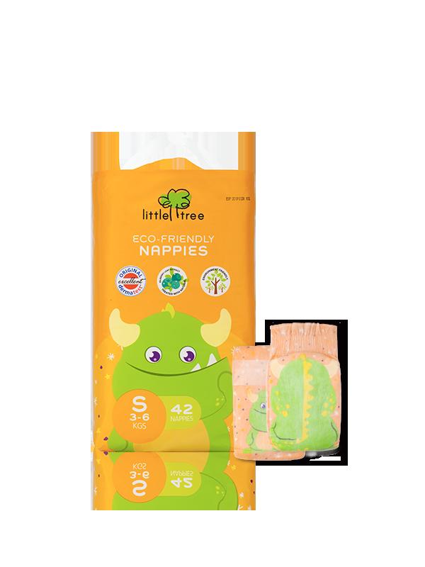 【小樹苗Little Tree】小怪獸環保尿布(42片)-S號