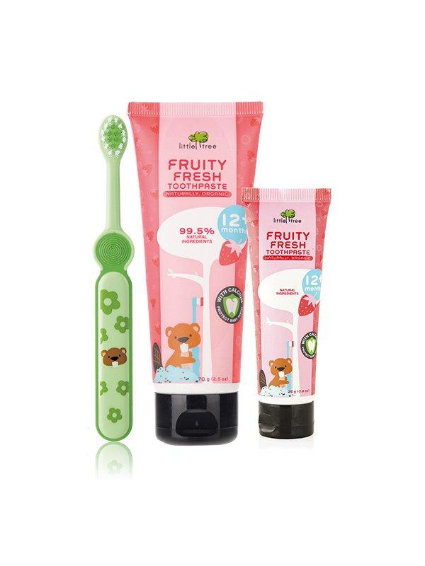 【小樹苗Little Tree】兒童牙刷牙膏三件組(大牙膏+小牙膏+牙刷 )