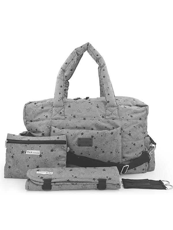 7 A.M. Soho Bag Diaper Bag Tas Popok Bayi - Heather Grey Star