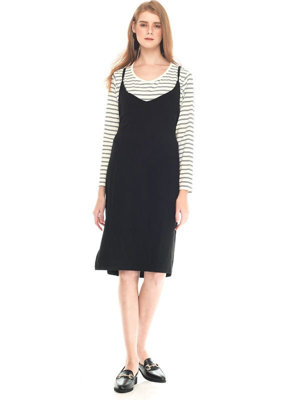 Two Piece Monochrome Long Sleeve Maternity & Nursing Dress Baju Hamil Menyusui