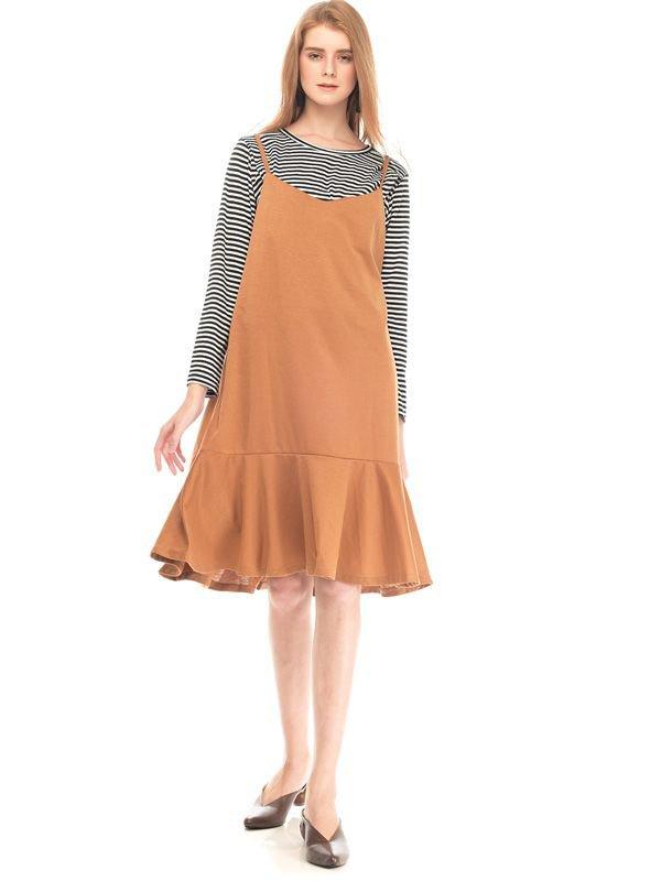 Two Piece Stripe Ruffle Maternity & Nursing Dress Baju Hamil Menyusui