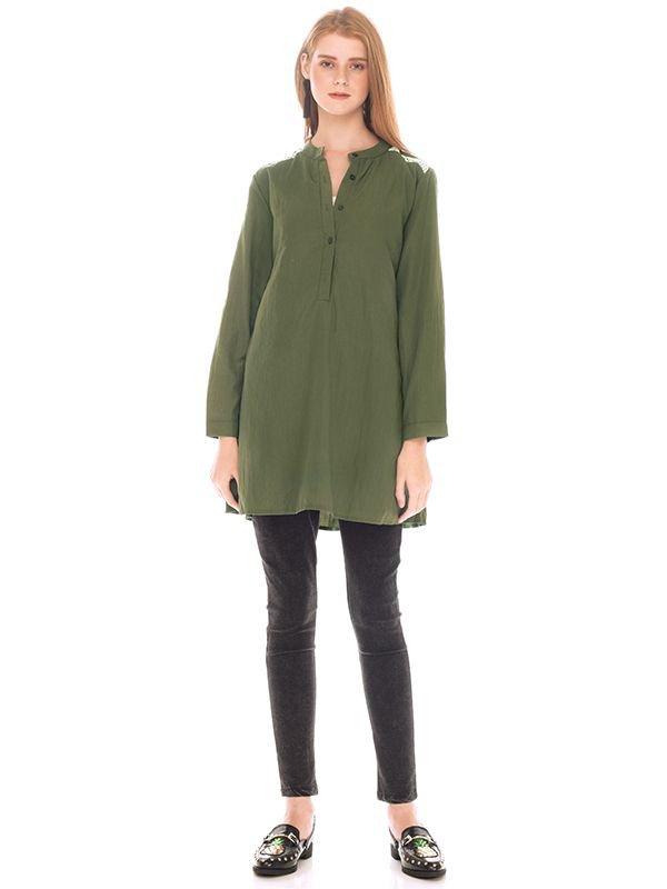 Green Army Maternity & Nursing Shirt Baju hamil Menyusui