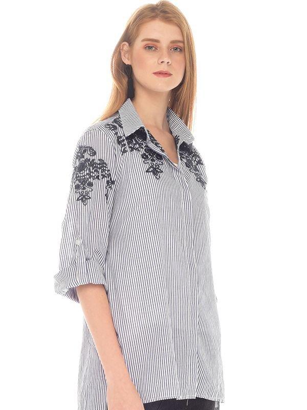 Flower Embroidery Long Sleeves Maternity & Nursing Shirt Baju Hamil Menyusui