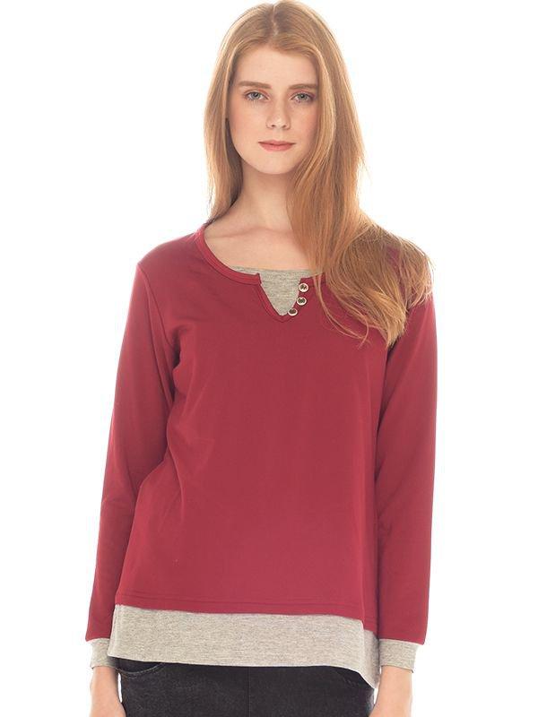 MOOIMOM Three Buttons Long Sleeves Maternity & Nursing Shirt Baju Hamil Menyusui