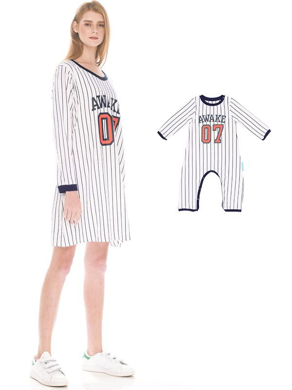 Baseball Long Sleeves Nursing Dress Couple Set + Baby Clothes Long Pants Dress Hamil Menyusui Couple Ibu Anak