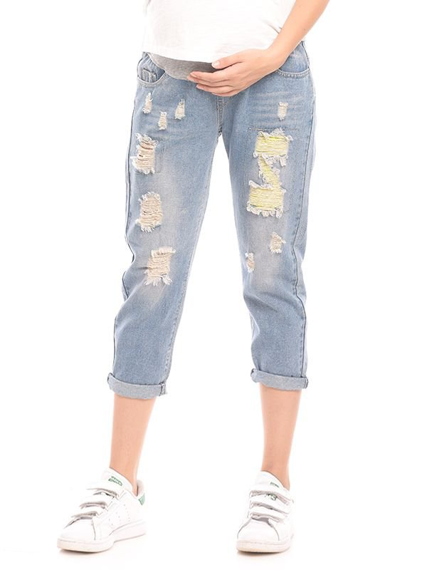 New Boyfriend Maternity Jeans With Ripped Celana Jeans Hamil