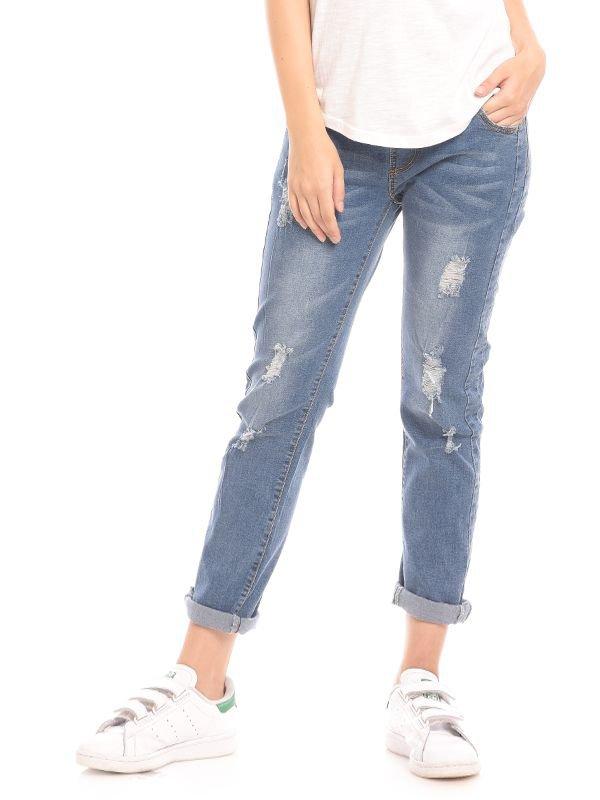 MOOIMOM Boyfriend Maternity Jeans With Ripped Celana Jeans Hamil