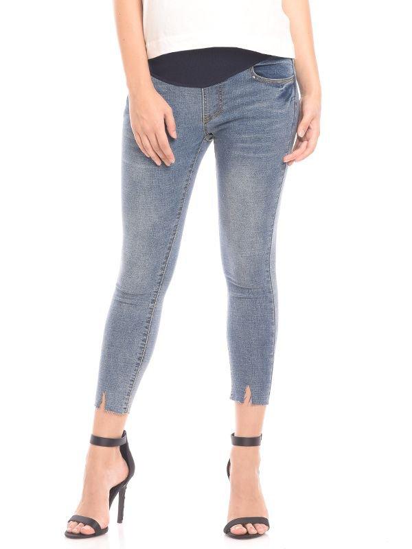 Maternity Crop Hem Ankle Jeans Celana Jeans Hamil