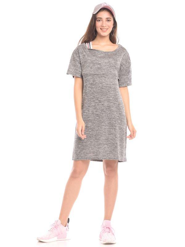 Cold Shoulder With Tape Detail Nursing Dress Baju Hamil & Menyusui