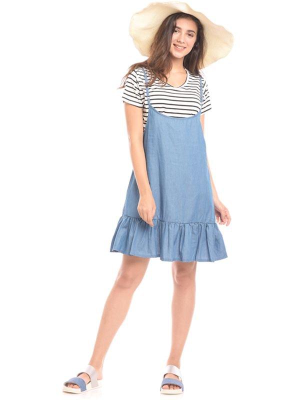 2 Piece Midi Blue Stripes Denim Maternity & Nursing Dress Baju Hamil & Menyusui