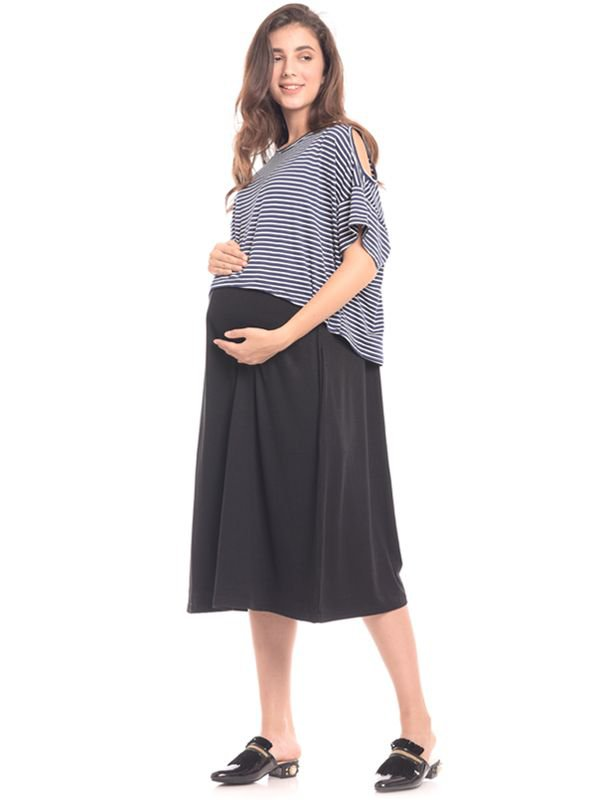 Bold Grey In Cold Shoulder Maternity & Nursing Dress Baju Hamil & Menyusui