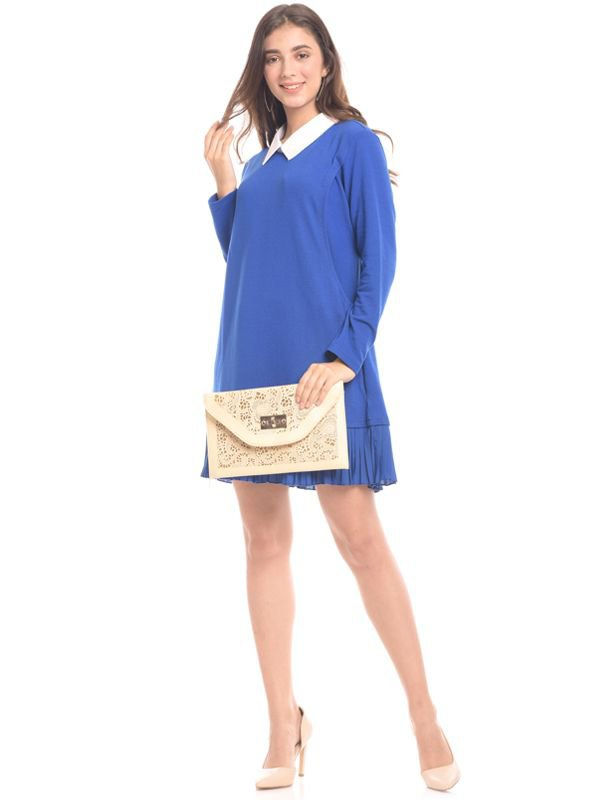 Midi Blue Vest Long Sleeves Maternity & Nursing Dress Baju Hamil & Menyusui