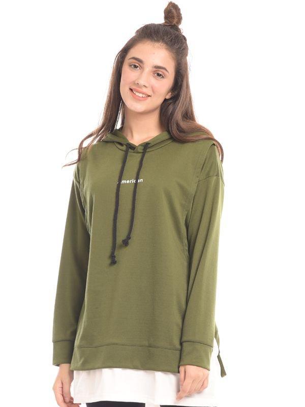 Green Long Sleeves Maternity & Nursing Hoodie Baju Hamil & Menyusui