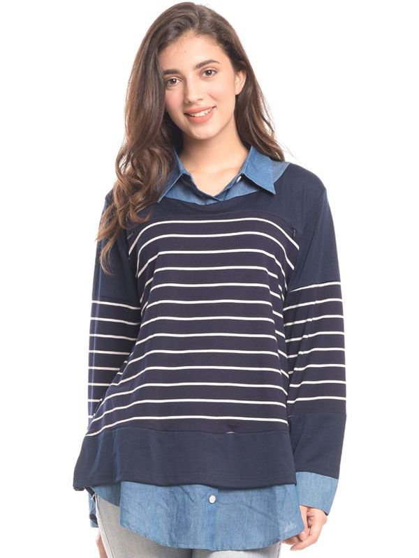Navy Striped Vest Long Sleeves Nursing Shirt Baju Hamil & Menyusui