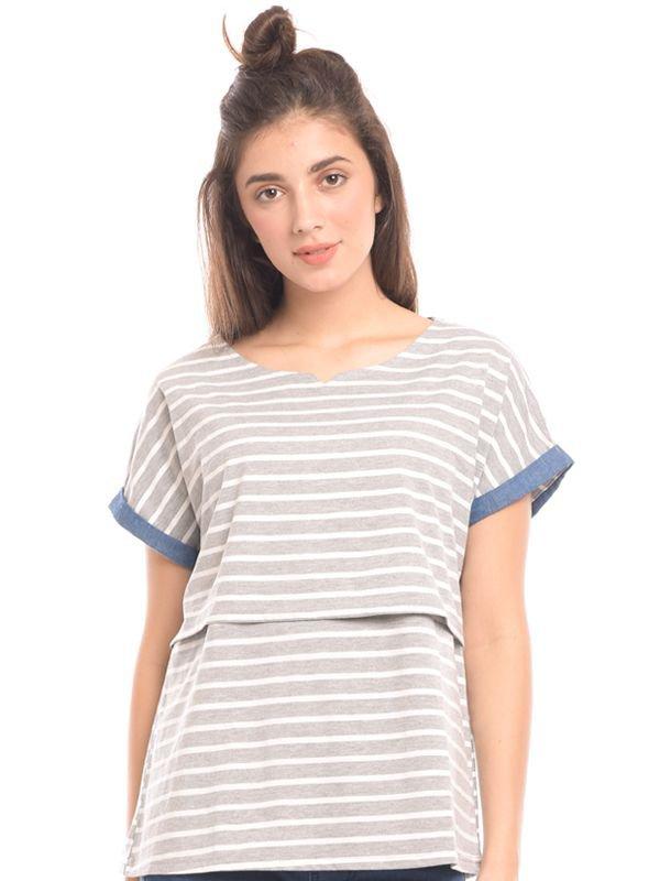 MOOIMOM Maternity Nursing Top With Soft Stripe Double Layer Baju Hamil & Menyusui