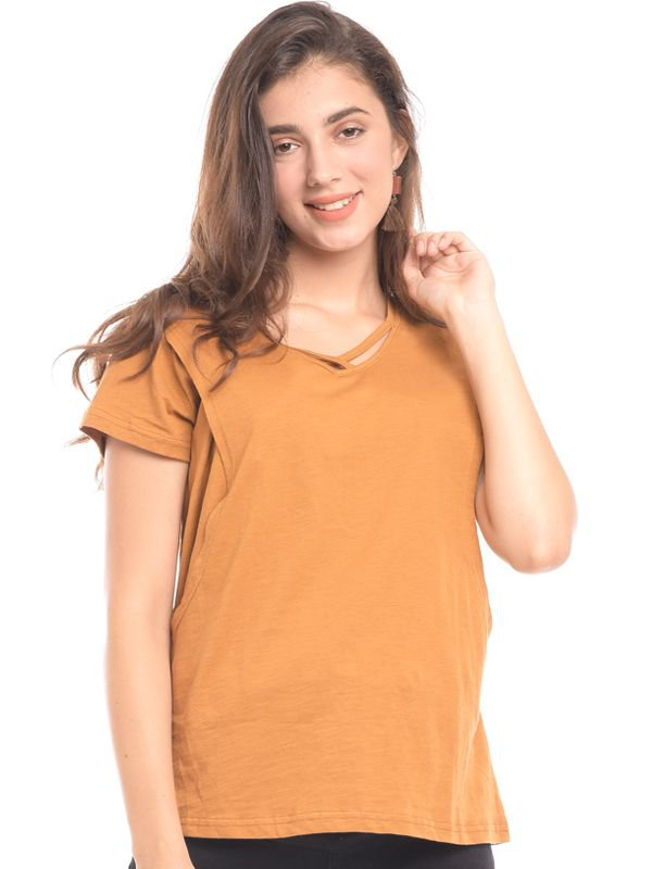 MOOIMOM Maternity Nursing Short Sleeve Top in V-neck Mustard Baju Hamil & Menyusui