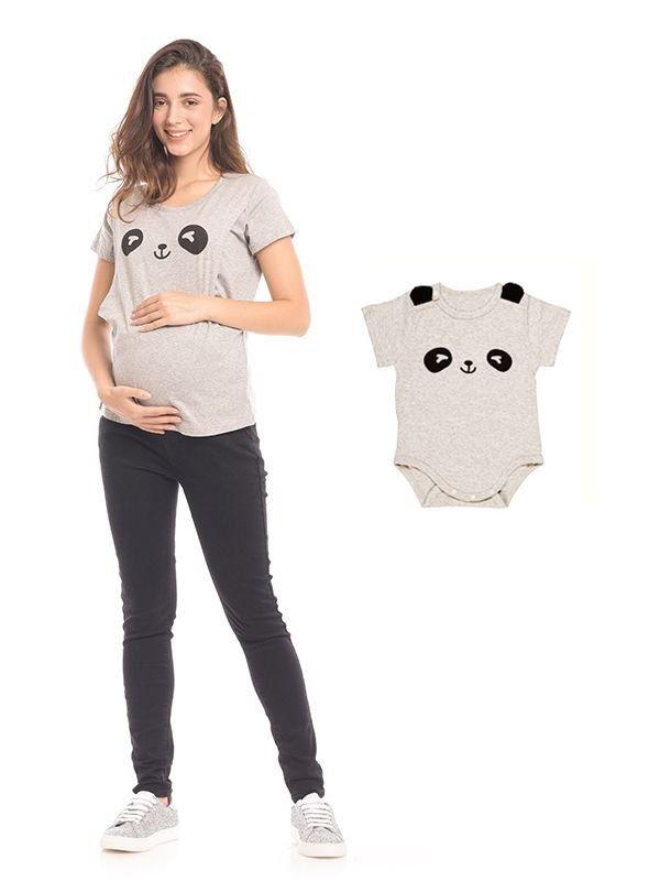 Panda Eyes Print Nursing Top Couple Set Baju Hamil & Menyusui Couple Ibu Anak