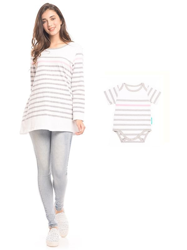 Striped Long Sleeves Nursing Top Couple Set Baju Hamil & Menyusui Couple Ibu  Anak
