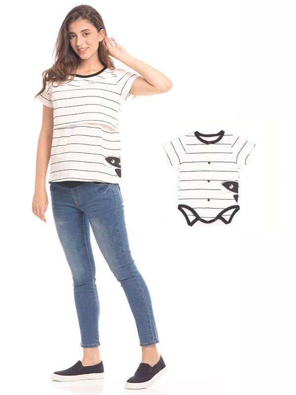 White Stripes Short Sleeves Nursing Top Couple Set Baju Hamil & Menyusui Couple Ibu Anak